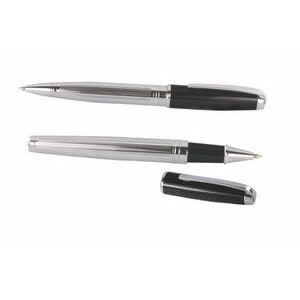 Ilegant™ Chrome & Black Ballpoint Pen w/Screw Off Cap & Rollerball Pen Gift Set