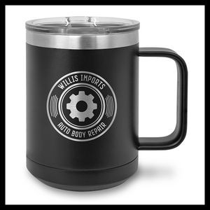 15 oz Stainless Steel Mug, Black
