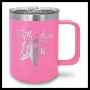 15 oz Stainless Steel Mug, Pink