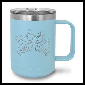 15 oz Stainless Steel Mug, Light Blue