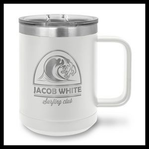 15 oz Stainless Steel Mug, White