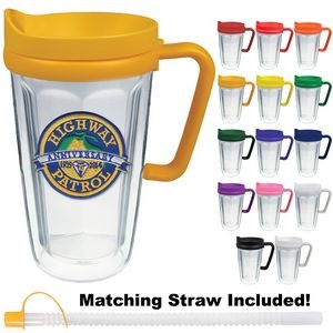 16 Oz. Double Wall Insulated Thermal Travel Mug - Embroidered Emblem