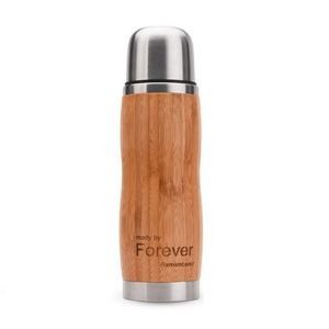 13 OZ Bamboo Stainless Steel Double Wall Water Bottle