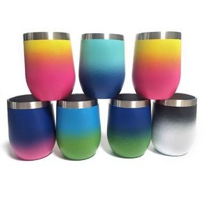 12oz Gradient Color Wine Tumbler with Lid