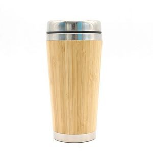15 OZ Double Wall Stainless Steel Bamboo Travel Tumbler