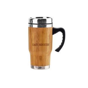 14 OZ Plastic Handle Stainless Steel Bamboo Tumbler