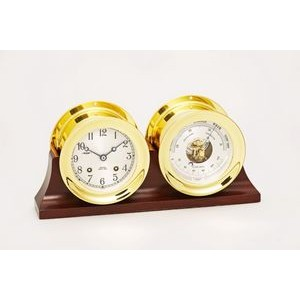 "4 1/2"" Ship's Bell Dial Clock & Barometer in Brass w/Hinged Bezel on Double Base"