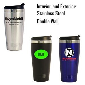16oz Stainless Steel Mug W/Screw-on Lid