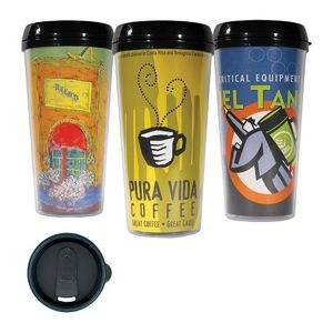 16 Oz. Custom Printed Travel Mug Tumbler W/ 4 Color Imprint