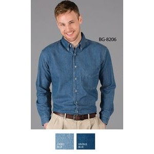 Men's Long Sleeve Cotton Denim Shirt w/Patch Pocket
