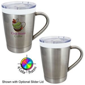 12 Oz. Brushed Stainless Double Wall Boss Vacuum Desk Mug w/Lid (4 Color Process)