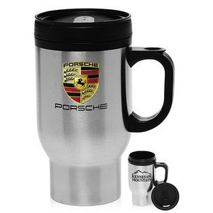 16 Oz. Stainless Steel Travel Mugs w/ Plastic Handle