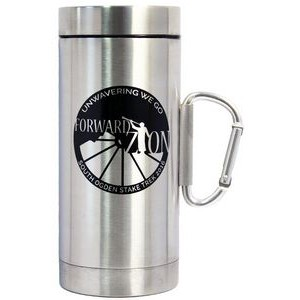 16 Oz. Stainless Steel Travel Mug w/ Carabiner Handle & Screw On Lid