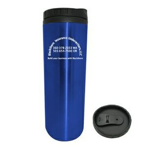 16 Oz. Cylindrical Stainless Mug w/ Plastic Liner & Twist On Lid (3 Days)