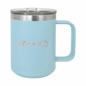 Light Blue Polar Camel 15oz. Stainless Steel Coffee Mug