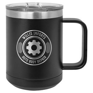 15 Oz. Black Vacuum Insulated Mug w/Slider Lid